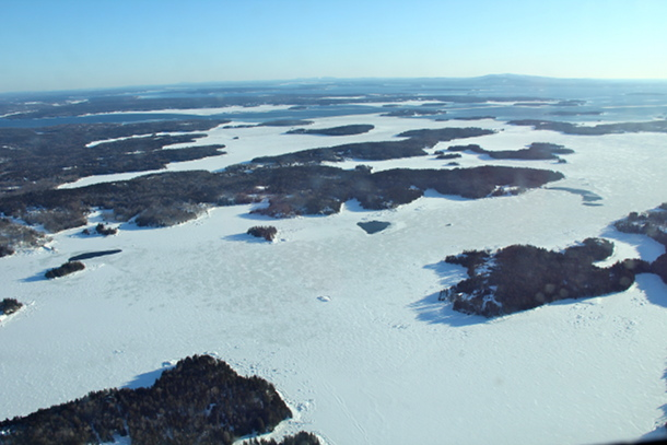 Many areas among Maine's islands were totally iced over.