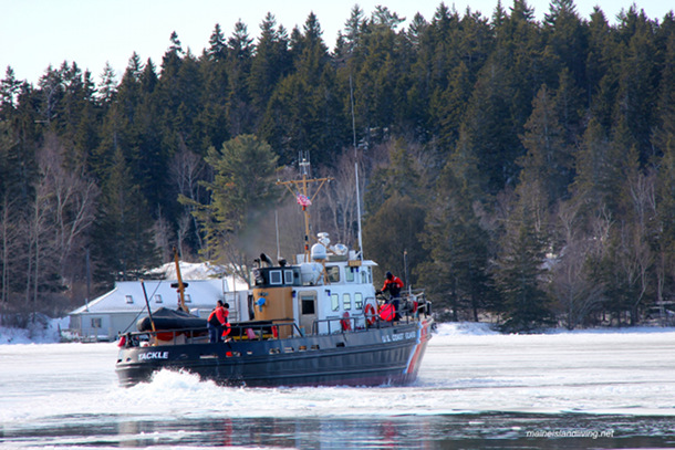 Tackling the Thoroughfare – Coast Guard vessel Tackle captain and crew worked tirelessly breaking up Fox Islands Thoroughfare ice, allowing ferries to run.  An outboard skiff run between islands became impossible, however, necessitating PIA to fly people to their jobs island to island.